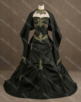 Wholesale Strapless Gothic Wedding Dresses Black Taffeta Pick up Gold Appliques Halloween Bridal Gowns Free Shawl Real Photos Cheap Vintage