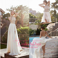 Wholesale 2014 New Arrival High Neck Sheath Lace Chiffon Beach Wedding Dresses Backless High Low Sexy Beach Wedding Gowns JV7111