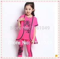 Wholesale new summer children baby kids teens teenage clothing clothes sets for big girls suits t shirts leggings pieces outfits
