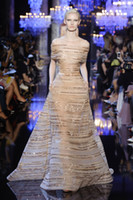 Cheap 2014 Elie Saab Crystals Sequins Beading Gold Short Sleeves New vestidos de fiesta Long Evening Party Prom Dress Gown Custom Made