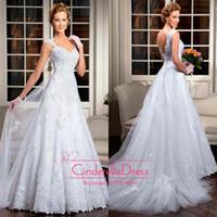 Wholesale 2014 vestidos de noiva Sexy New Cap Sleeves V neck Satin A line Wedding Dresses Applique Lace Backless Bridal Gown Sheer Wedding LT12