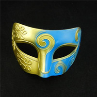 Wholesale 2014 Mens Costume Party Masks Knights Cosplay Masks Masquerade Masks Carving Flower Gold Green Colored Drawing Earls Masks Clothing Props