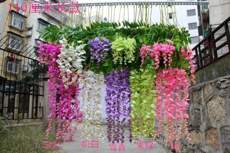 wholesale silk flower artificial flower wisteria vine rattan for valentines day home garden hotel wedding decoration 2014 hot sale wedding silk flower - Flowers For Home Garden