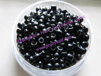 Wholesale 1000pcs pack Black silicone micro nano bead with silicone line for Nano Hair Extensions tool kit Colors Optional