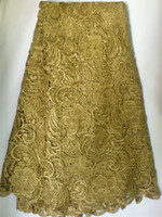 Wholesale Y african lace fabrics voile cotton lace wedding lace high quality guipure water soluble lace khaki color