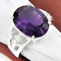 Wholesale 2015 Time limited Real Wedding Rings Holiday Jewelry Gift Oval Amethyst Gems Sterling Silver Ring R0347
