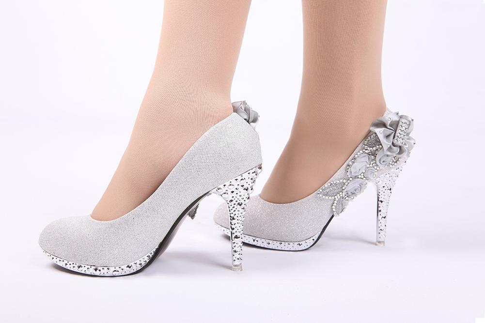 2015 New Elegant Beaded Flower White Red Champagne Wedding Shoes ...