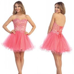 Wholesale Cute Sweetheart A line Crystal Beads Organza Cheap Corset Homecoming Dresses Short Prom Dresses Party Dresses Sweet Dresses