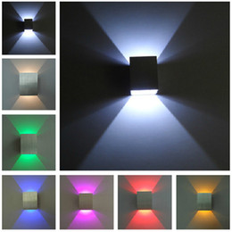 Wholesale Aluminum Wall Light Colorful Indoor Light LED Wall Lamp W Red Green Yellow Purple Blue Cool Warm White LED Light Aisle Stair Sconce V