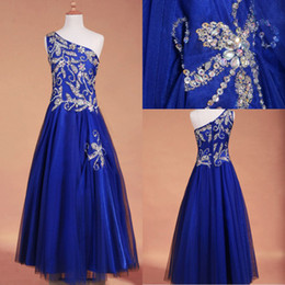 Wholesale 2015 Bling Real Images Girls Pageant Dresses Royal Blue Tulle Rhineston Crystals Beads One Shoulder Zipper Flower Girls Gowns ssj SU31
