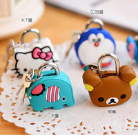 Cheap N100 creative fashion super cute cartoon doll silicone metal padlock mini lock