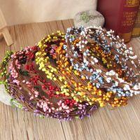 Wholesale Diy Garland Artificial Flower Head Ring Wedding Garland Pip Berry Flower Stamen DIY Wreath Simulation Flower Bead Material