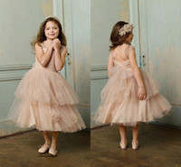 Wholesale Made In China Sweety Flower Grils Dresses Square Neckline Sleeveless Bow Ruched Tulle Tea Length A Line Girls Formal Clothes New Popular ZX