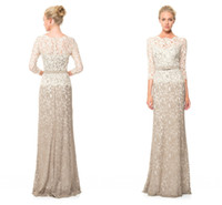 brides made - 2015 Tadashi Shoji Inspired Two Tone Vintage Mother of the Bride Dresses Plus size Evening Gown with Long Sleeve Sheath Crew Sweep Train