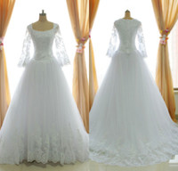 Wholesale 2014 Hot Real Image A Line Scoop Neck Wedding Dresses Long Sleeve Sheer Lace Appliques Crystal Beads Court Train Bridal Gowns ssj SU36