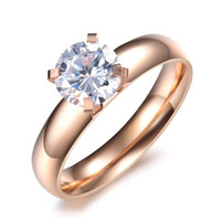 Cheap New Arrival,316L Stainless Steel Ring on Rose Gold Plated,Shiny CZ Ring OTR13