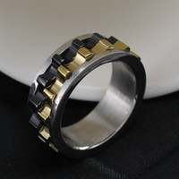 Wholesale New Arrival Titanium Steel Ring Moveable Gear Style Charming Ring Man Party Stainless Steel Ring OTR15