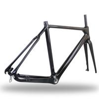 Wholesale New Bicycle Frameset UD Matte D brakes Full Carbon Cyclocross Bike Frame Fork BB30 BSA cm