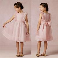 Wholesale Cheap Cute Pink Organza Crew Neckline Little Girls Pageant Dresses Sleeveless Zipper Back Ruched Bow Knee Length Flower Girl Dresses