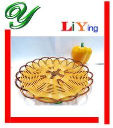 Wholesale Rattan Plastic Basket Storage plate Tableware dinnerware restaurant supplies pc Round Wicker cm for food snacks fries fried chicken