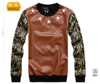 Cheap Wholesale-2013free shipping 2014 winter new skateboard hee Happy PU jacket camouflage sleeve crew neck pullover men sweatshirt