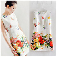 Wholesale 2014 Autumn For Big Girls Sleeveless Dress Cotton Flower Blooming Oil Painting Slim Dresses White Lady Clothes Women Ladies Clothing K1113