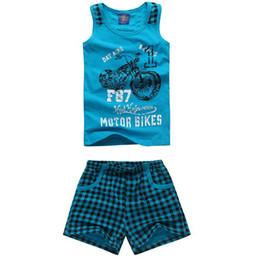 Wholesale Hot Sale Vest Plaid Shorts Kids Summer Sets Size cm Motor Print Children Cotton Clothing Suits