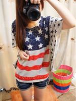 Women american flag t shirt - women s american flag T shirt batwing loose short sleeve summer USA flag batwing sleeve shirt sweatshirt