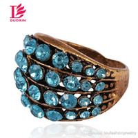 Solitaire Ring antique paving - Vintage Antique Red Bronze Multi style Mix Sylte Rings for Women New Fashion European Jewelry Punk Rings For Women