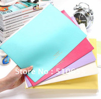 Cheap Wholesale-2014 New Arrived Fashion Korean Style Documnt Bag Pencil Case Ticket Folder PU 6 Candy Color Part Free Shipping Wholesale