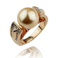 Wholesale Noblest K Gold Plated Synthetic Diamond Pearl Rings The Rings For Woman And Men Fashion Jewelry No Minorder RG143