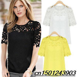Wholesale 2015 summer new Hot New Chiffon Lace Womens T shirt Tops Short Sleeve Crew Neck Casual blouse women plus size S XLsweatshirt
