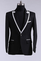 Cheap SSJ Real-Image 2014 Fall Black Gun Collar Jacket With White Satin Man Wedding Suits For Men Tuxedo Suits Groom Tuxedos Best Blazer N654