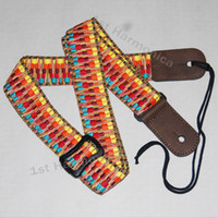 Wholesale Brand new Hawaii woven stripes adjustable Ukulele strap guitar genuine leather Christmas gift