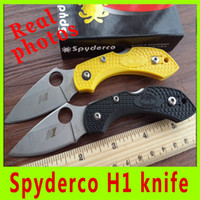 abs cut - Real picture New popular HRC cutting tool knife Spyderco H1 tactical camping utility knives ABS handle folding knife X