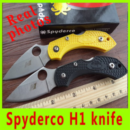 Wholesale Real picture New popular HRC cutting tool knife Spyderco H1 tactical camping utility knives ABS handle folding knife X
