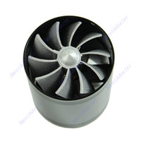 Cheap Free Shipping F1-Z Double Supercharger Universal Turbine Turb Air Intake Fuel Gas Saver Fan BK