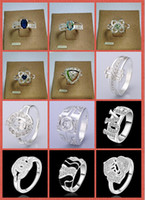 Wholesale 2014 September New Hot Sales silver Crystal rings Charming Women girls finge rings Styles Select Rings Mix size