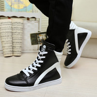 Wholesale Fashion spring and autumn men martin boots high top skull justin bieber leather hip hop dacing shoes size