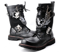 Wholesale New men leather martin boots fashion knee high punk style male cool military boots size