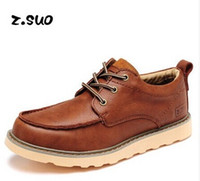 Cheap New 2014 brand Genuine leather men martin boots round toe low top breathable sneakers fashion british style work shoes