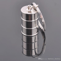 Wholesale key ring NEW Oil Car key Chain drum style Stainless alloy steel Key Chain High Quality key rings