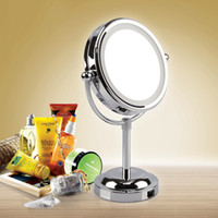 bathroom vanity stand - Makeup Mirror With LED Light Cosmetic Dual Side Magnifying Vanity Bathroom Bedroom Stand Mirror Kiven HZD