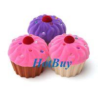 Cheap Velvet Cup Cake Rhinestone Ring Earrings Jewelry Box Storage Case Gift #3399