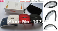 Wholesale Free dhl Folding Foldable GHz USB Wireless RF Optical Mouse Red ray Mice Universal for Laptop PC Computer Notebook