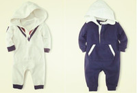 Cheap 2013 New ! Retail baby boys sports style hoodies long sleeve jumpsuit infants baby clothing 2 colors rompers Free shipping