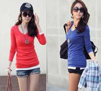 Cheap Free Shipping 2013 Spring Autum Korean Style WomanTop High Fashion Womens Clothing Shirt Slim Cotton Full Sleeve Cute Basic Tee