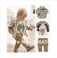 Cheap Wholesale-Free Shipping! new spring baby clothes set cool boy 3 pcs suits t-shirt+shirt+pants children garment Retail