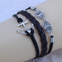 anchor bangle - Ancient silver bangle bracelet combination anchor rope adjustable braided leather bracelet personalized bracelet owl love anchors