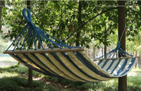 Wholesale DHL Brand new Specials Hot sale NEW FABRIC Canvas with double wood Outdoor HAMMOCK Camping Leisure Furniture Rainbow with